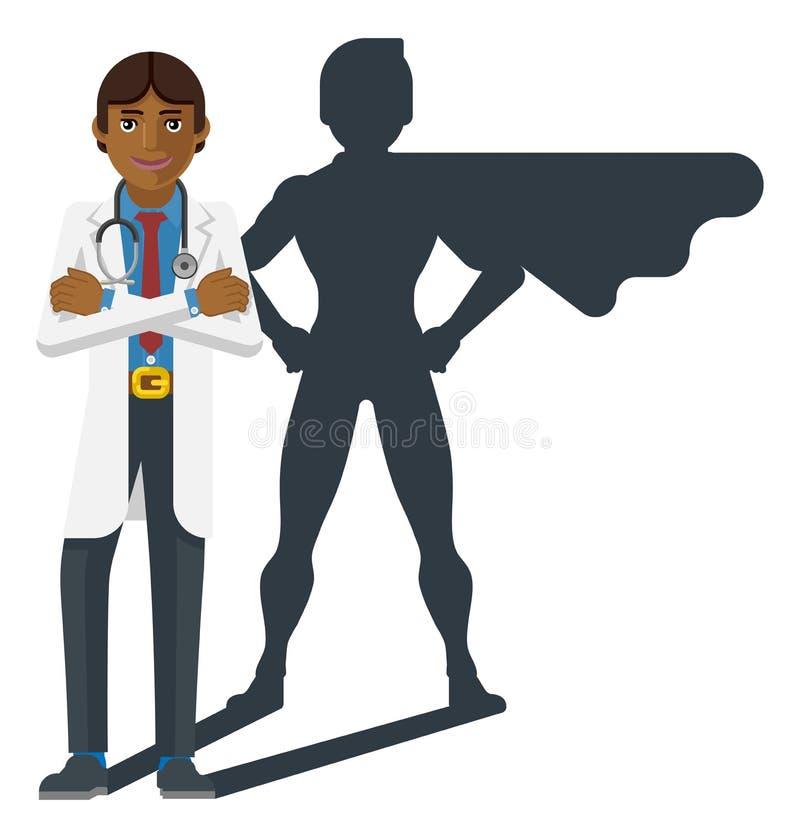 M?oda lekarza medycynego Super bohatera kresk?wki maskotka ilustracji