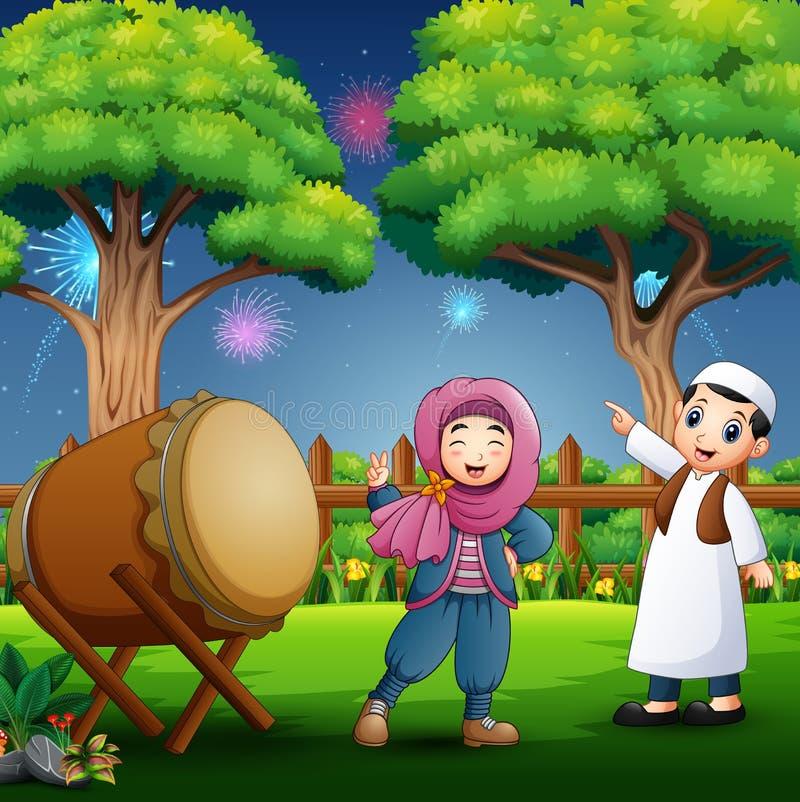 M?oda Muzu?ma?ska ch?opiec i dziewczyna ?wi?tuje Ramadan royalty ilustracja