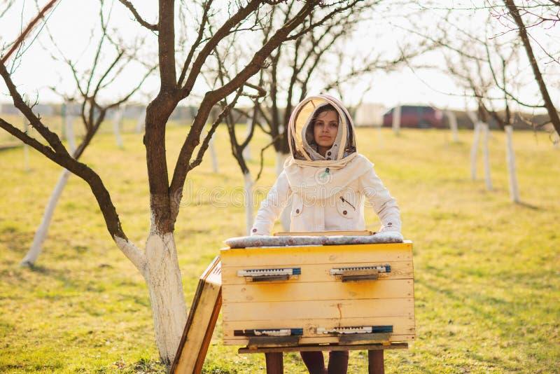 M?oda pszczelarki dziewczyna pracuje z pszczo?ami i ulami na pasiece, na wiosna dniu zdjęcie stock