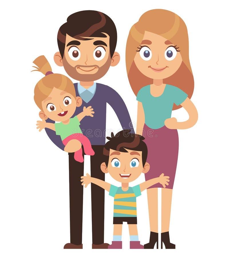 M?oda rodzina Matkuje i ojcuje z dzieciaka brata związku społeczeństwa charakteru mieszkania siostrzanym tradycyjnym wektorem ilustracji