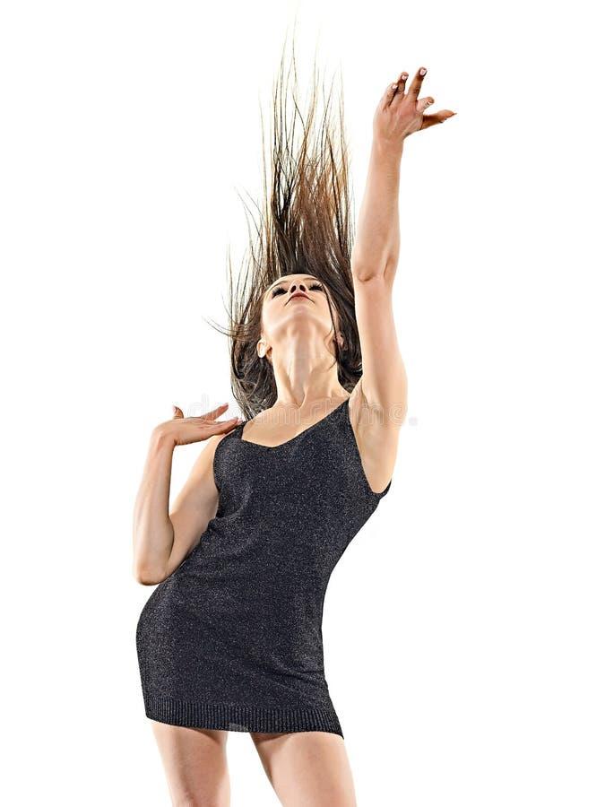 M?odej kobiety dyskoteki tancerza taniec odizolowywa? bia?ego t?a szcz??liw? zabaw? obrazy stock
