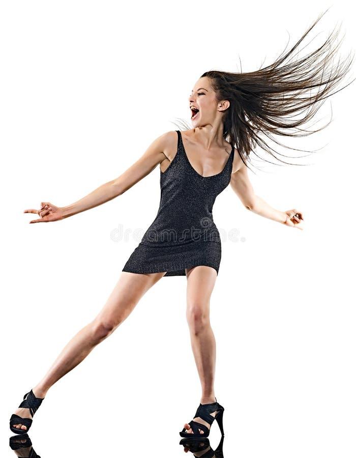 M?odej kobiety dyskoteki tancerza taniec odizolowywa? bia?ego t?a szcz??liw? zabaw? zdjęcie royalty free