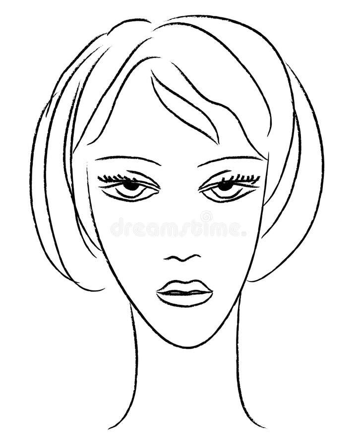 Download Młodej kobiety twarz ilustracja wektor. Ilustracja złożonej z model - 65225217
