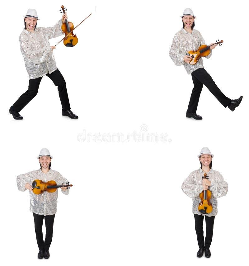 M?ody cz?owiek bawi? si? skrzypce odizolowywaj?cego na bielu zdjęcie royalty free