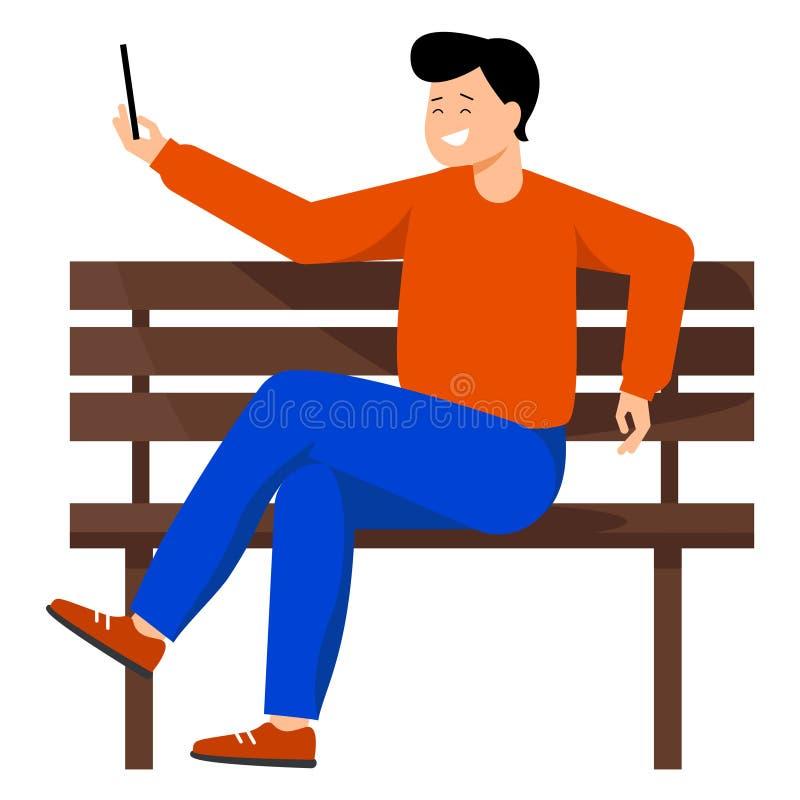 M?ody cz?owiek bierze selfie Facet siedzi na ?awce i trzyma telefon w jego r?ce M??czyzna u?miecha si? obrazki on i bierze ilustracja wektor