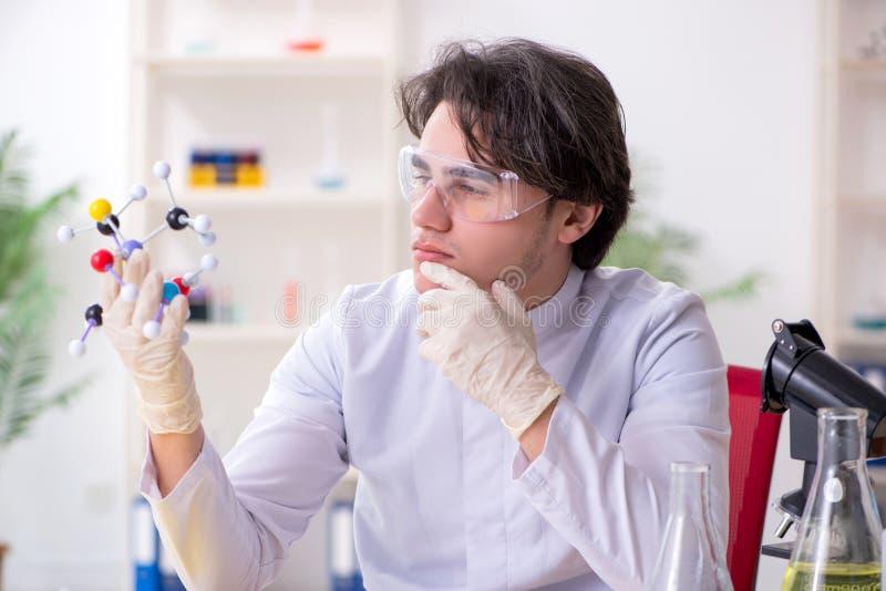 M?ody m?ski biochemik pracuje w lab obrazy stock