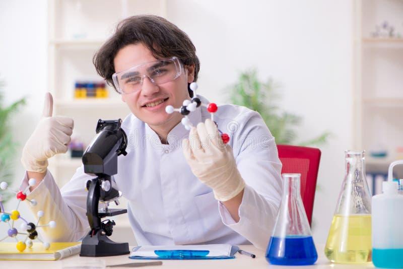 M?ody m?ski biochemik pracuje w lab zdjęcia royalty free