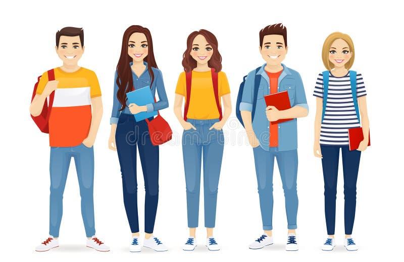 M?odzi ludzie w przypadkowych ubraniach ilustracji
