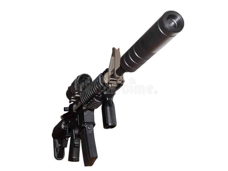 M4 omhoog sluiten de Amerikaanse die Aanvalsvuurwapens, op witte achtergrond worden geïsoleerd, royalty-vrije stock foto