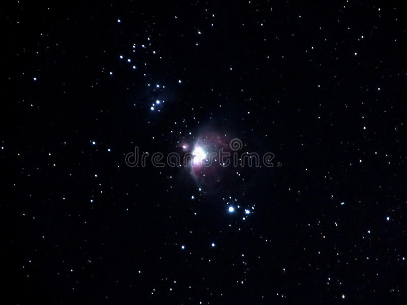 M42. Orion nebula,the brightest nebula in the sky.Shot by telescope,exposure time 5 minutes stock photography
