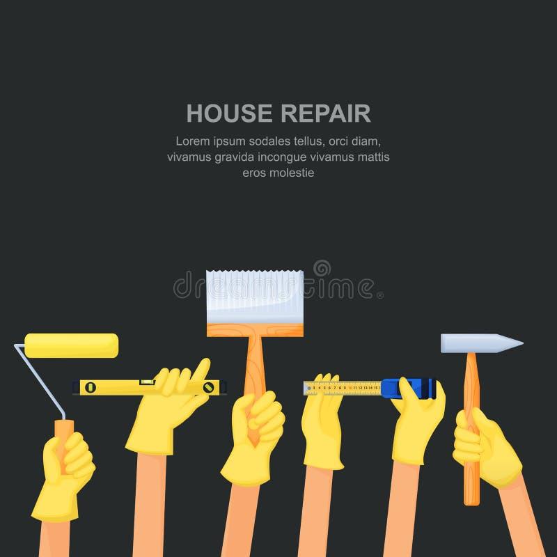 M?os humanas com as ferramentas e o equipamento do reparo da casa Bandeira da constru??o de casa ou molde do projeto do cartaz Il ilustração stock