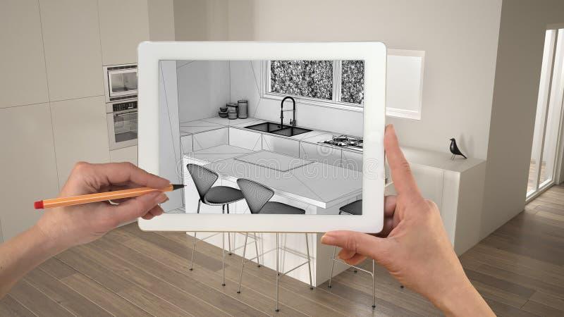 M?os que guardam e que tiram na tabuleta que mostra a cozinha branca moderna com esbo?o de madeira do CAD dos detalhes Interior t ilustração do vetor