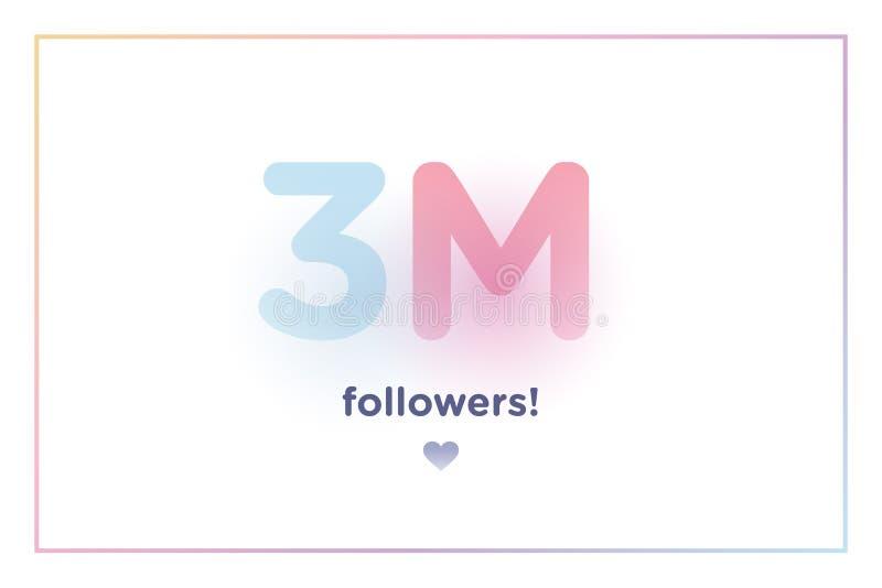 3m ou 3000000, disciples vous remercient nombre coloré de fond avec l'ombre molle Illustration pour les amis sociaux de réseau, d illustration stock