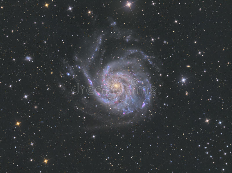M101 Pinwheel Galaxy. Astrology astronomy cluster comet constellation cosmos emission galaxy light royalty free stock photo