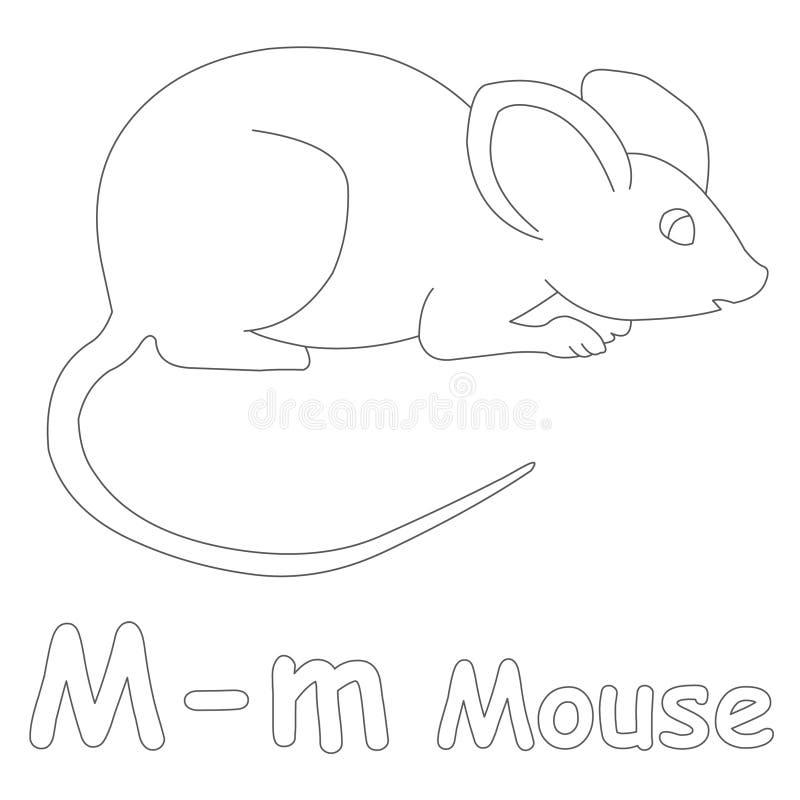 M pour la page de coloration de souris illustration libre de droits