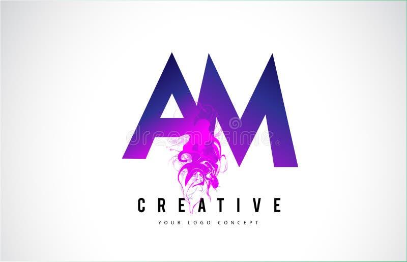 AM A M. Purple Letter Logo Design com fluxo líquido do efeito ilustração stock