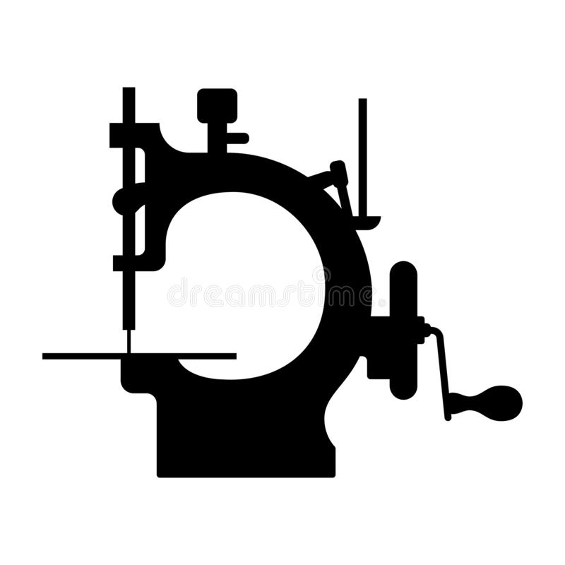 M?quina de coser Silueta negra para cortar, ejemplo en el fondo blanco libre illustration
