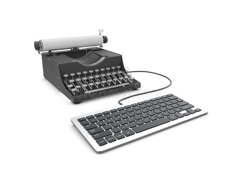 M?quina de escribir y ordenador port?til viejos en la tabla Concepto de progreso de la tecnolog?a ilustración del vector