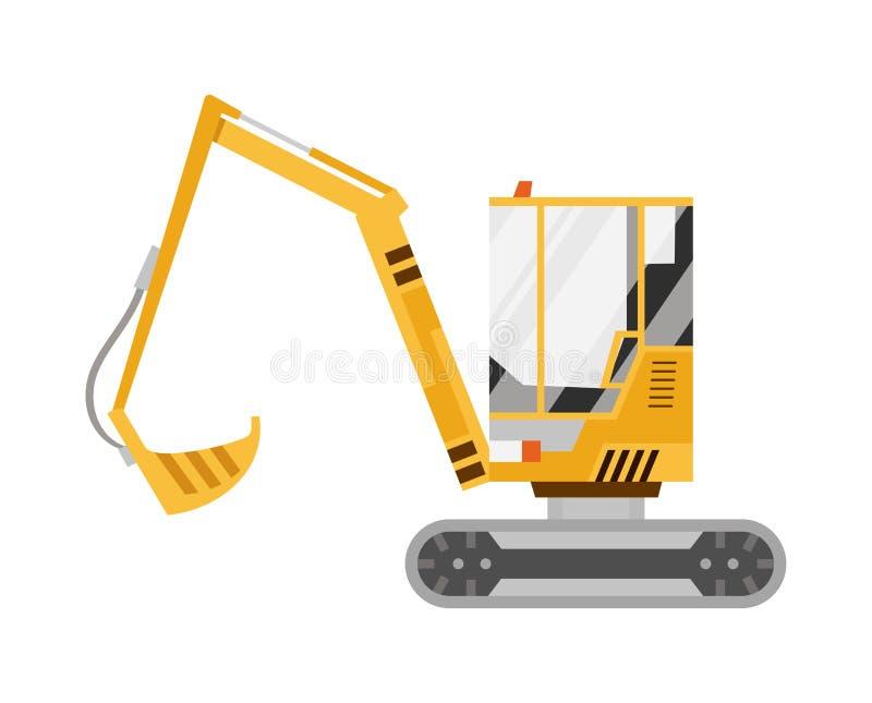 M?quina escavadora no canteiro de obras Isolado no fundo branco Equipamento especial M?quina escavadora Ilustra??o do vetor ilustração stock