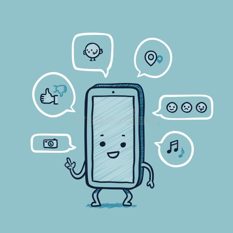 M. réseaux futés de social de téléphone illustration de vecteur