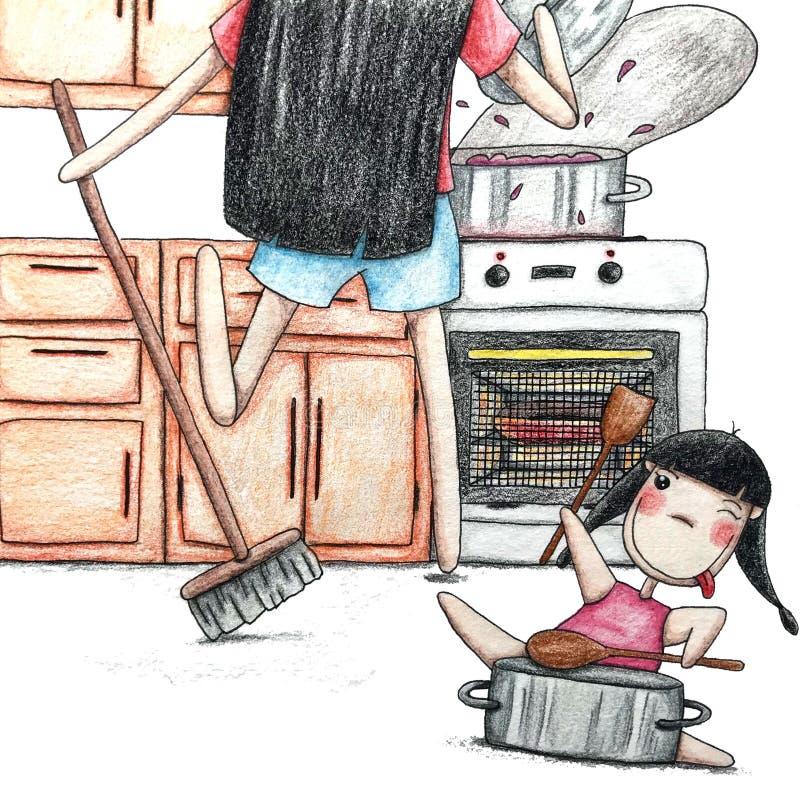 M?re et descendant dans la cuisine photo libre de droits