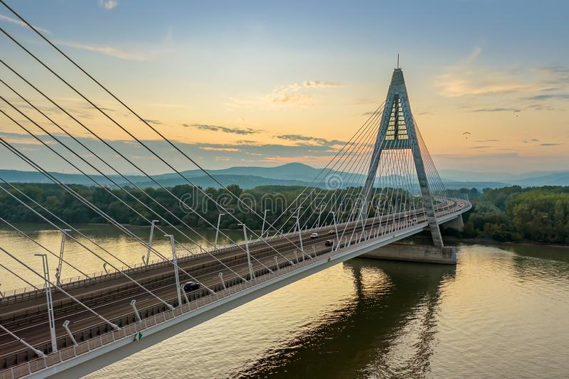 Aerial photos form Megyeri bridge. Budapest hungary. Transportation. M0 ringroad  highway`s bridge. Between Ujpest and Budakalasz. Aerial photos form Megyeri stock images