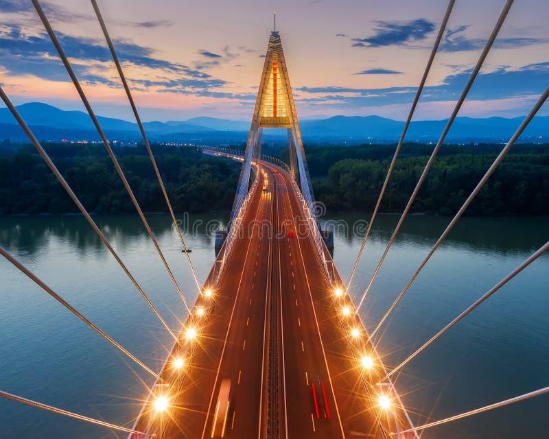 Aerial photos form Megyeri bridge. Budapest hungary. Transportation. City lights. M0 ringroad  highway`s bridge. Between Ujpest and Budakalasz. Aerial photos royalty free stock photos