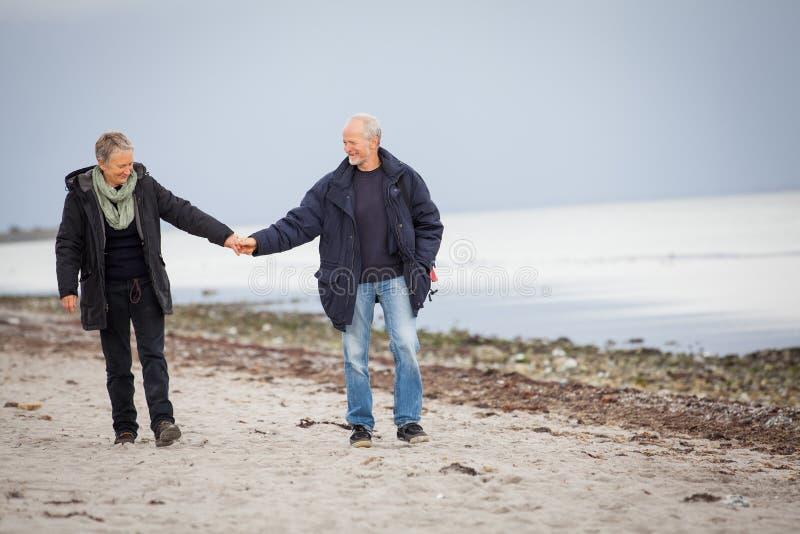 Mûrissez les couples heureux marchant sur la plage en automne photos libres de droits
