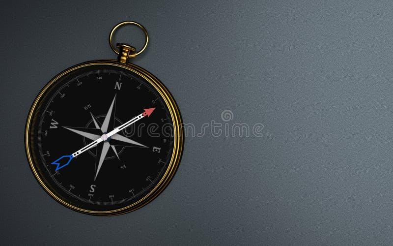 M?rk bakgrund f?r guld- kompass arkivbild