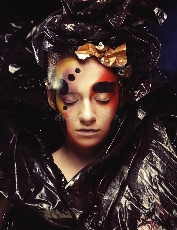 M?rk h?rlig gotisk Princess close upp Allhelgonaaftonpartibegrepp royaltyfria bilder