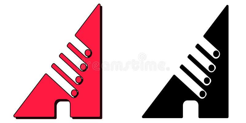 M?rka A Ovanlig invecklad bokstav A Vinkel med hack och prickar Ställ in av 2 bokstäver vektor illustrationer