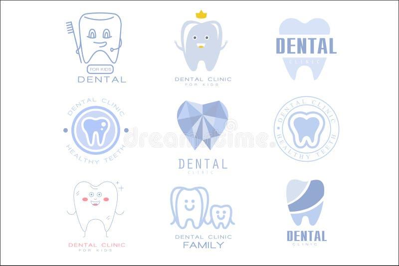 M?rker t?nder den tand- kliniken och tandl?karen Cabinet Set Of f?r ungar mallar i olika id?rika stilar och - bl?a skuggor vektor illustrationer