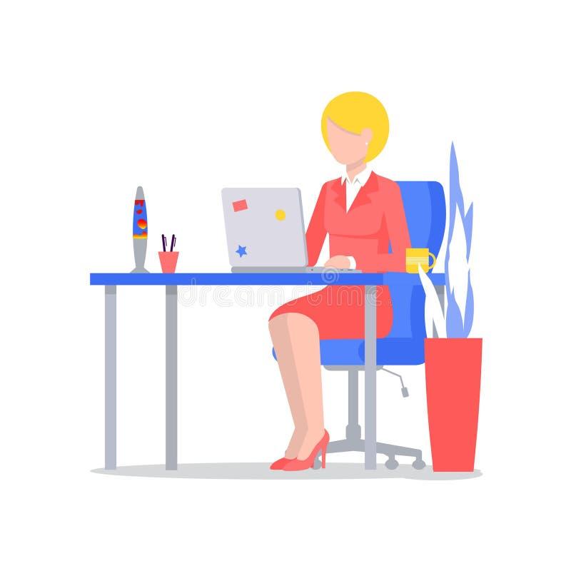 M?rkes- kvinna med b?rbara datorn p? skrivbordet stock illustrationer