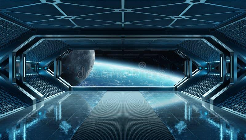 M?rkt - futuristisk inre f?r bl?tt rymdskepp med f?nstersikt p? tolkning f?r planetjord 3d vektor illustrationer