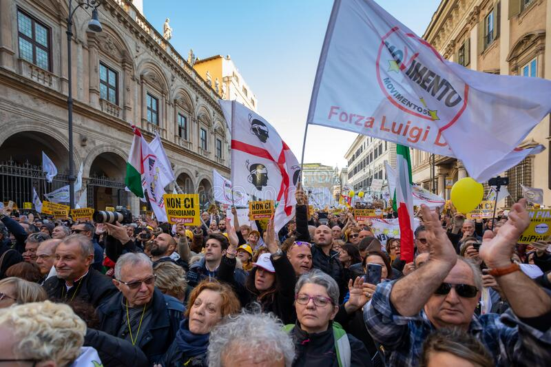 M5S protest demonstration in the square stock photos