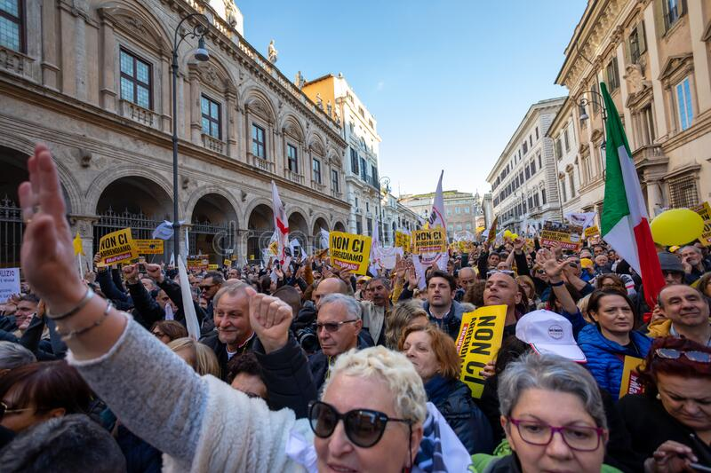 M5S protest demonstration in the square stock image