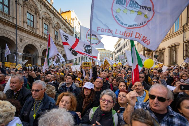 M5S protest demonstration in the square stock images