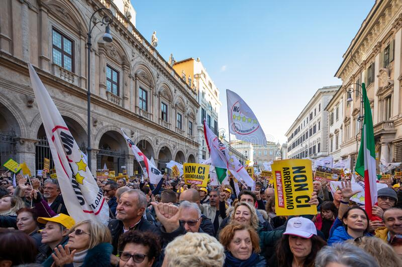 M5S protest demonstration in the square royalty free stock photo