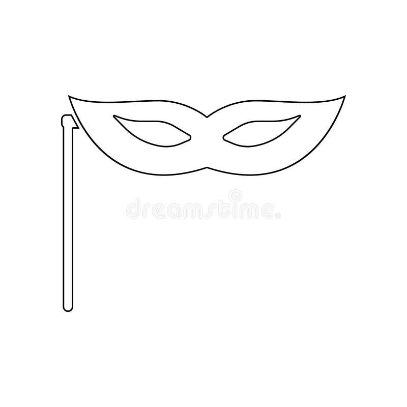 m?scara en icono del palillo Elemento del teatro para el concepto y el icono m?viles de los apps de la web Esquema, l?nea fina ic stock de ilustración