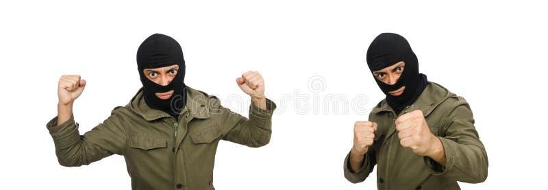 M?scara que lleva criminal aislada en blanco foto de archivo