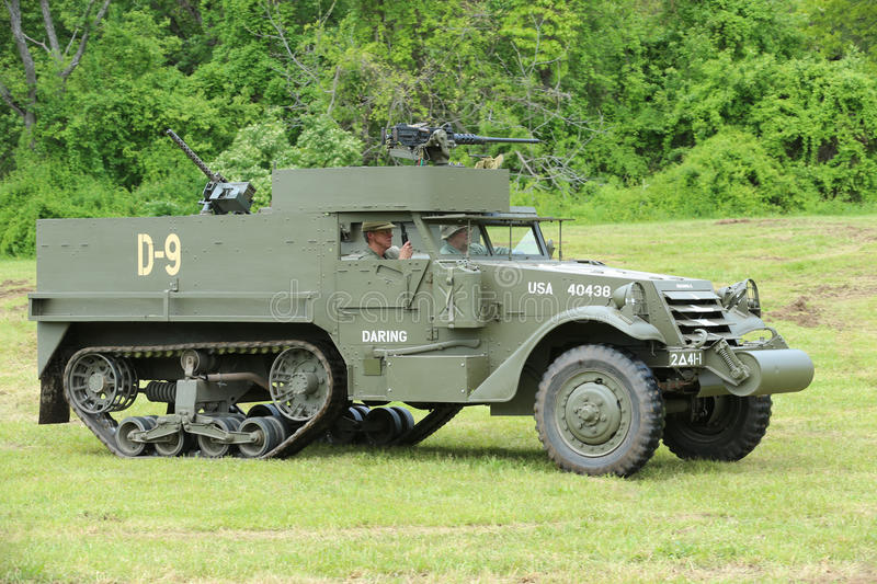 The M3A1 Scout Car from the Museum of American Armor during World War II Encampment. OLD BETHPAGE , NEW YORK - MAY 22, 2016: The M3A1 Scout Car from the Museum royalty free stock photo