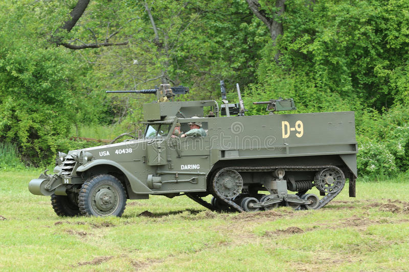 The M3A1 Scout Car from the Museum of American Armor during World War II Encampment. OLD BETHPAGE , NEW YORK - MAY 22, 2016: The M3A1 Scout Car from the Museum royalty free stock photos