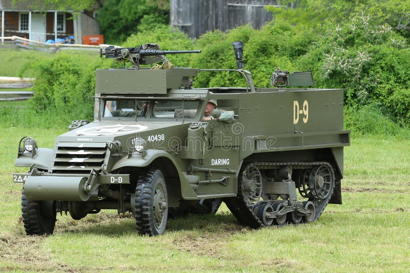 The M3A1 Scout Car from the Museum of American Armor during World War II Encampment. OLD BETHPAGE , NEW YORK - MAY 22, 2016: The M3A1 Scout Car from the Museum stock photos