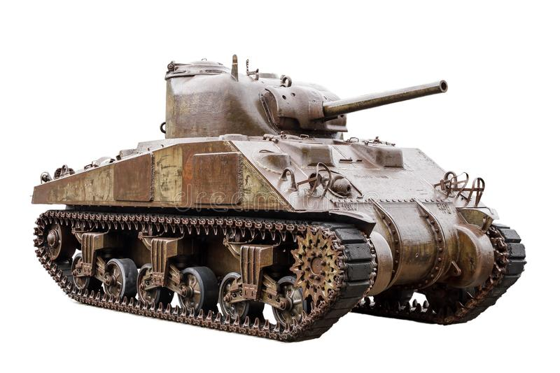 M4 Sherman tank on white. The M4 Sherman, officially Medium Tank, M4, the most used medium tank by the United States and Western Allies in World War II, isolated royalty free stock images