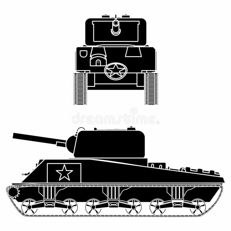 M4 Sherman Tank Zwart vul royalty-vrije illustratie