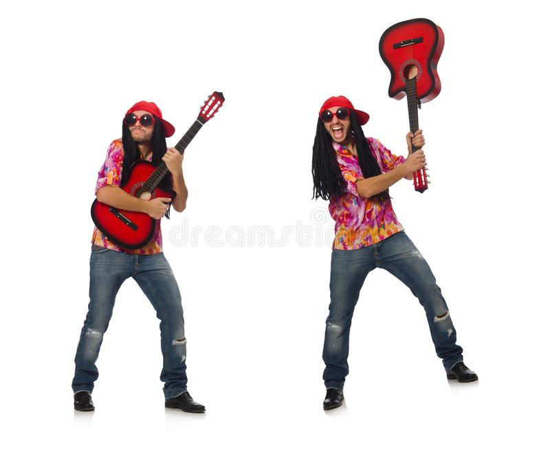 M?sico de sexo masculino con la guitarra aislada en blanco imágenes de archivo libres de regalías