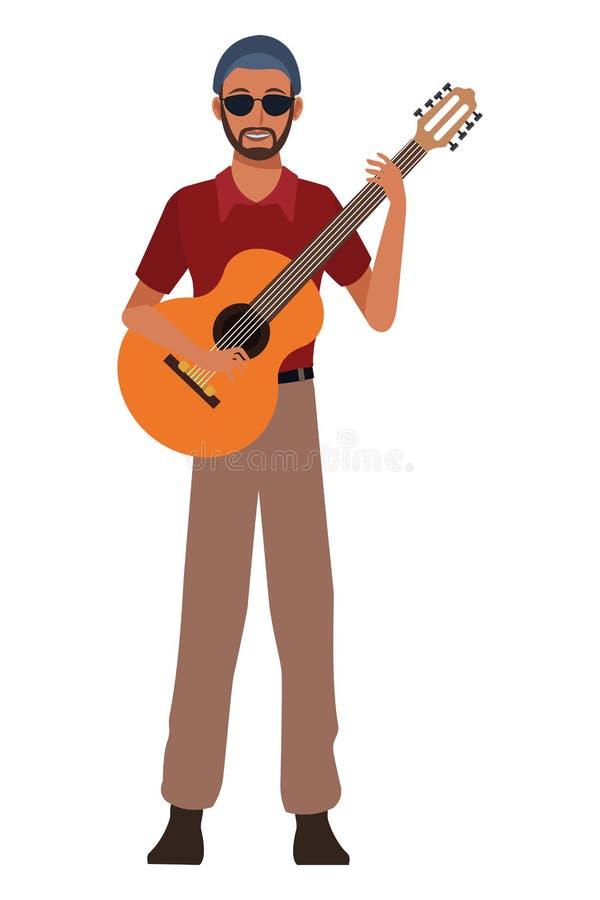 M?sico que joga a guitarra ilustração do vetor