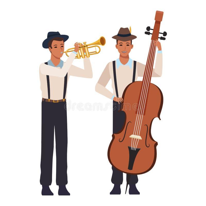 M?sico que juega la trompeta y el bajo stock de ilustración