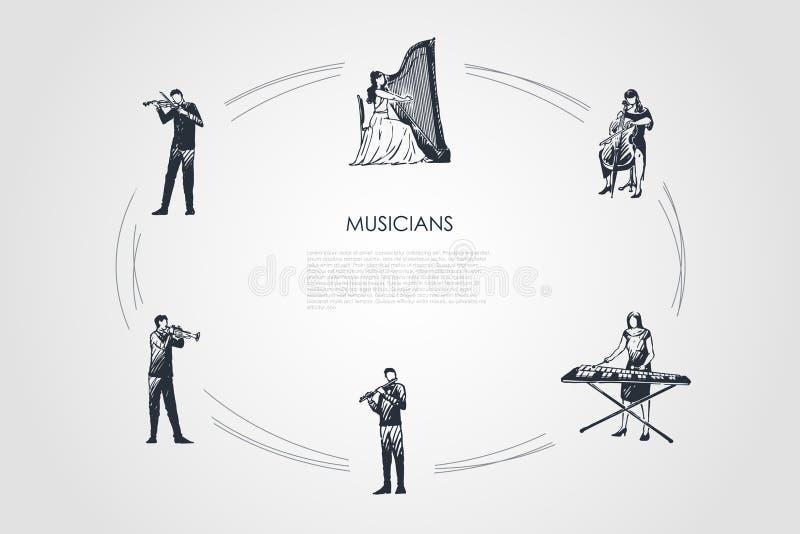 M?sicos - violinista, harpist, violoncelista, jogador do xilofone, flautista, grupo do conceito do vetor do bassoonist ilustração do vetor