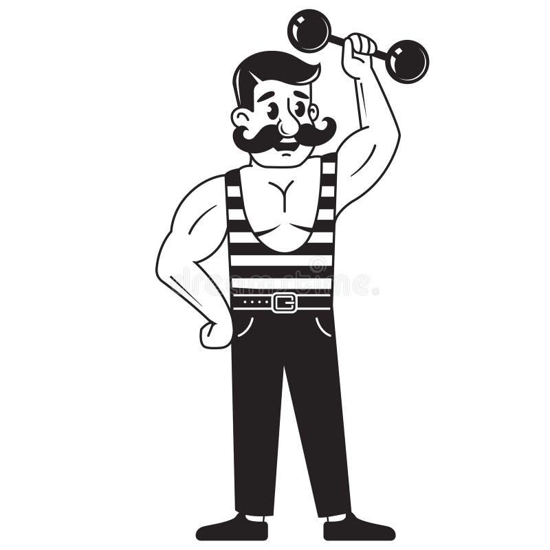 M?ski bodybuilder podnosi dumbbell bawi? si? sporty podno?nego m??czyzna mi??niowy wektorowy ci??ar Kreskowy rysunek na Bia?ym tl royalty ilustracja